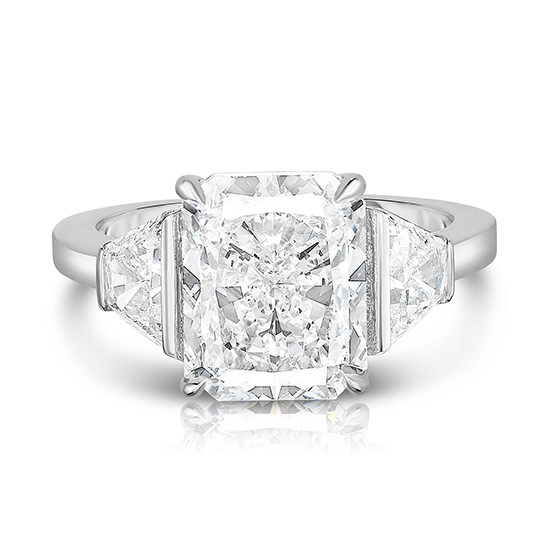 Radiant Cut Diamond Three Stone Ring with Trapezoids | Marisa Perry by Douglas Elliott