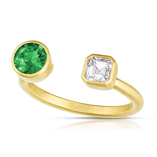 Round Emerald and Asscher cut Diamond Split Ring | Marisa Perry by Douglas Elliott