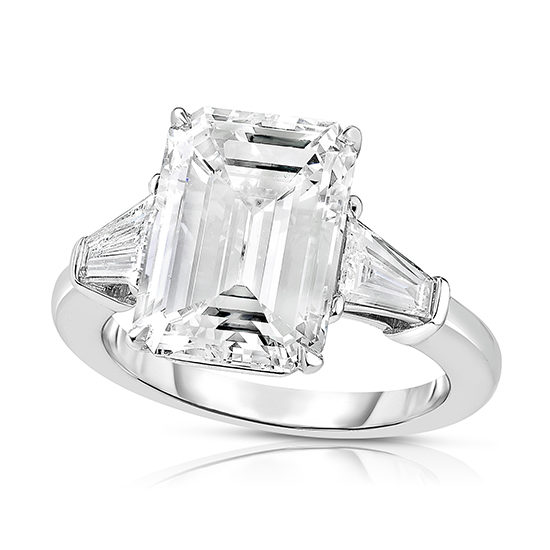 5.05 carat Emerald Cut Diamond Engagement Ring With Tapered Baguettes | Marisa Perry by Douglas Elliott