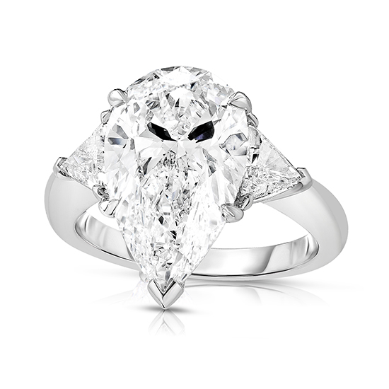 Three Stone Pear Shaped Diamond Engagement Ring With Trillions | Marisa Perry by Douglas Elliott