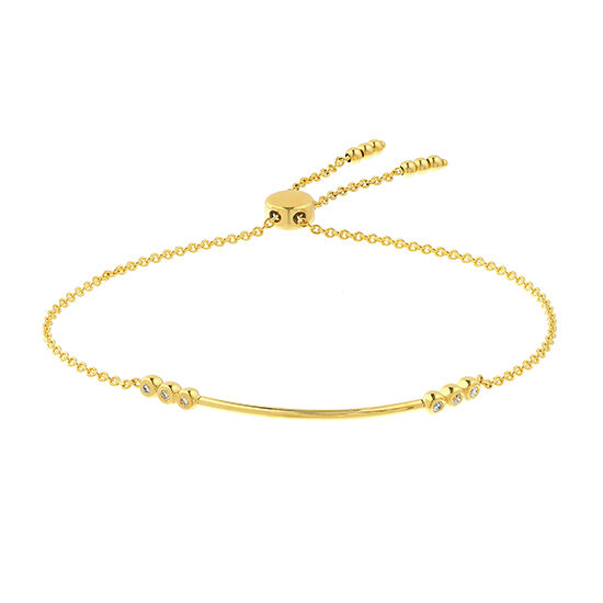 Bar Bolo Bracelet with Bezel Set Diamonds 14k Yellow Gold