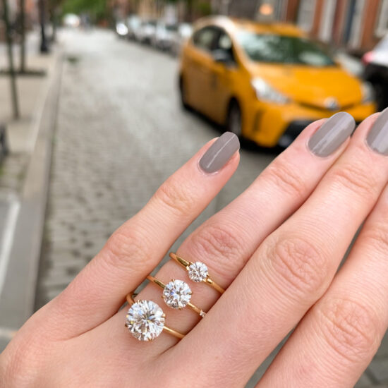 What is the average size stone for Engagement Ring settings?