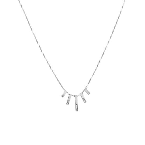 Graduated Bar Necklace 14k White Gold
