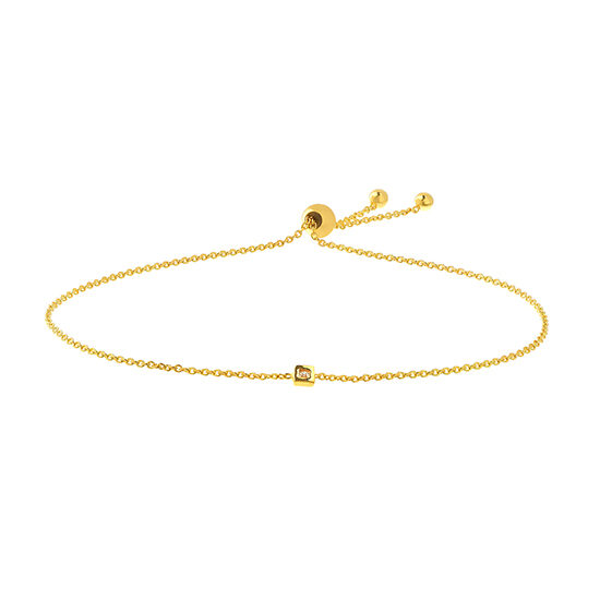 Bezel Set Diamond Bolo Bracelet 14k Yellow Gold