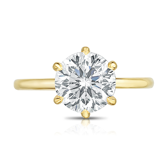 97 Facet Round Brilliant Cut Six Prong Engagement Ring