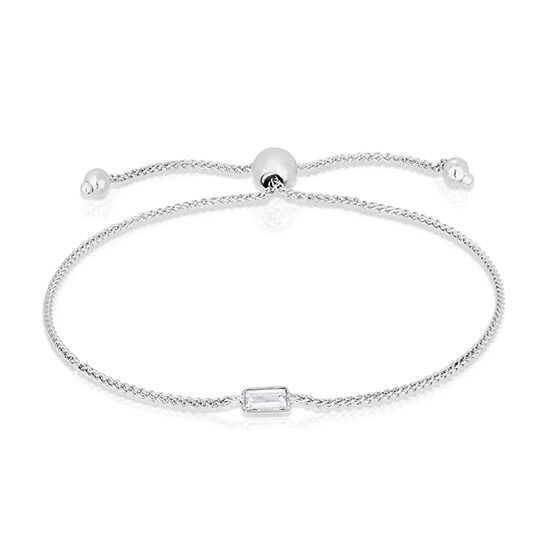 Baguette Cut Diamond Bezel Set Bolo Bracelet | Love and Light Collection