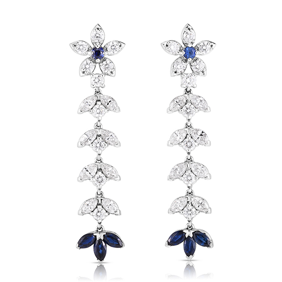 The Emily Earrings with Diamonds and Blue Sapphires Platinum