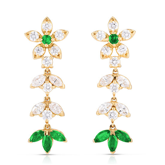The Emily Earrings with Diamonds and Green Emeralds 18k Yellow Gold