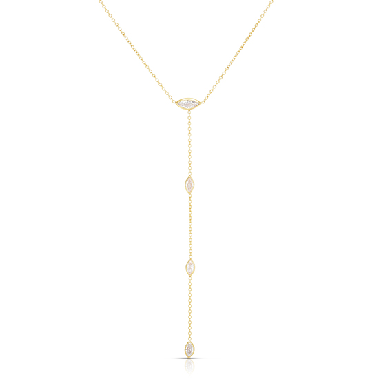 Marquise Cut Diamond Drop Necklace 14k Yellow Gold   Love and Light Collection
