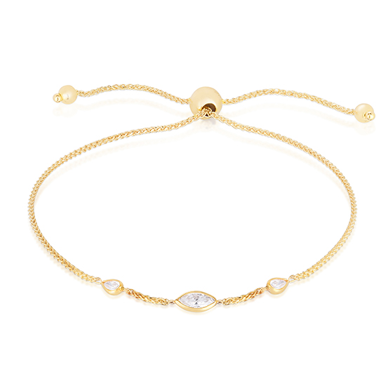Marquise Cut and Pear Shape Diamond Bezel Set Bolo Bracelet 14k Yellow Gold | Love and Light Collection