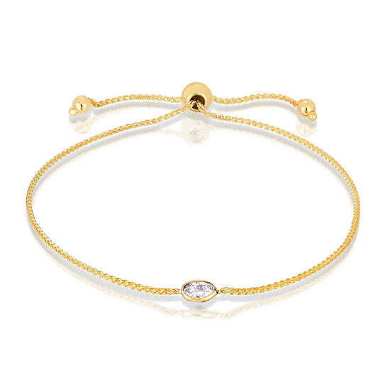 Oval Cut Diamond Bezel Set Bolo Bracelet 14k Yellow Gold | Love and Light Collection