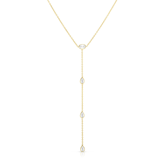 Oval Cut and Pear Shape Diamond Drop Necklace 14k Yellow Gold   Love and Light Collection