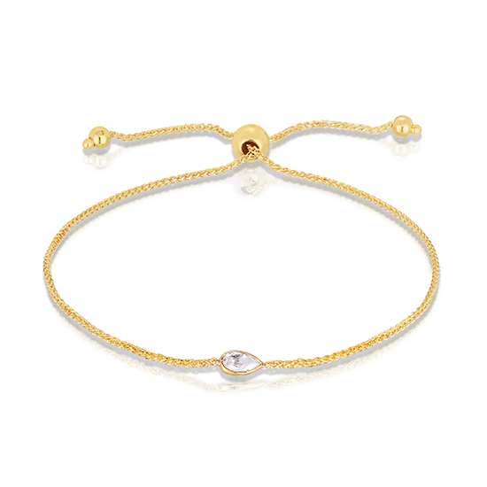 Pear Shape Diamond Bezel Set Bolo Bracelet 14k Yellow Gold | Love and Light Collection