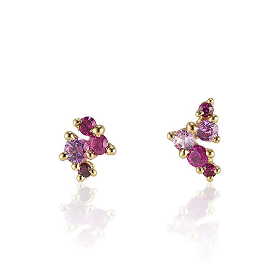 Rebel-Set Pink Sapphire Earrings