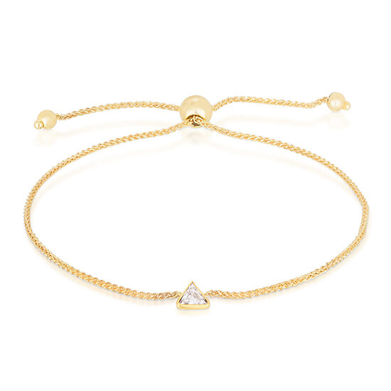 Trillion Cut Diamond Bezel Set Bolo Bracelet 14k Yellow Gold | Love and Light Collection