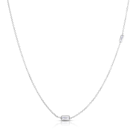 Baguette Cut Diamond Two Stone Necklace 14K White Gold | Love and Light Collection