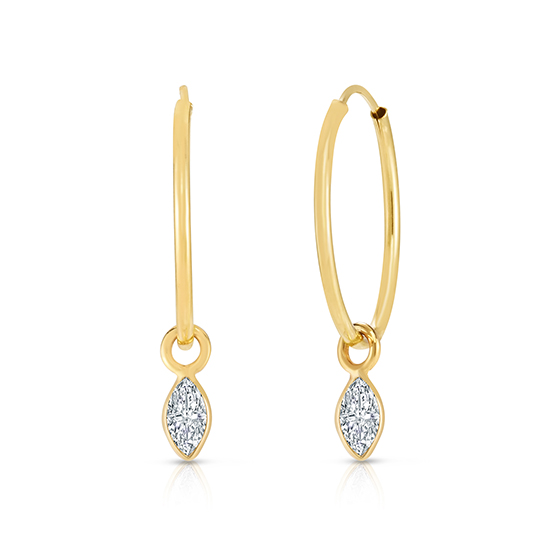 Hoop Earrings with Marquise cut Diamonds 14K Yellow Gold | Love and Light Collection
