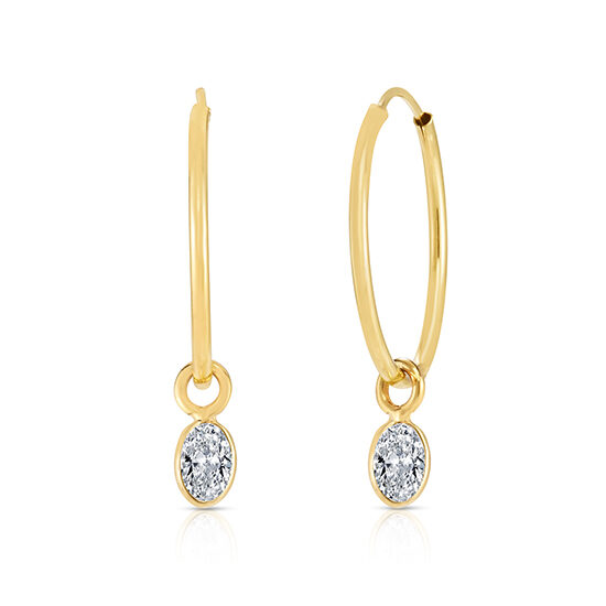 Hoop Earrings with Oval cut Diamonds 14K Yellow Gold | Love and Light Collection