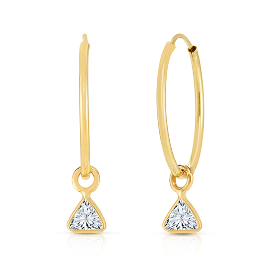 Hoop Earrings with Trillion cut Diamonds 14K Yellow Gold | Love and Light Collection