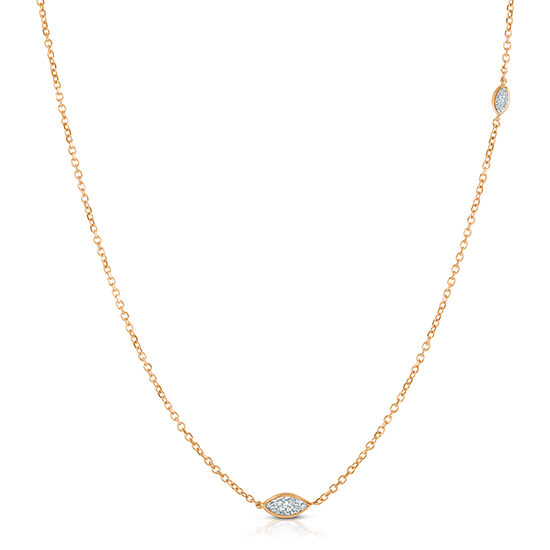 Marquise Cut Diamond Two Stone Necklace 14K Rose Gold | Love and Light Collection