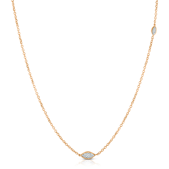 Marquise Cut Diamond Two Stone Necklace 14K Rose Gold   Love and Light Collection