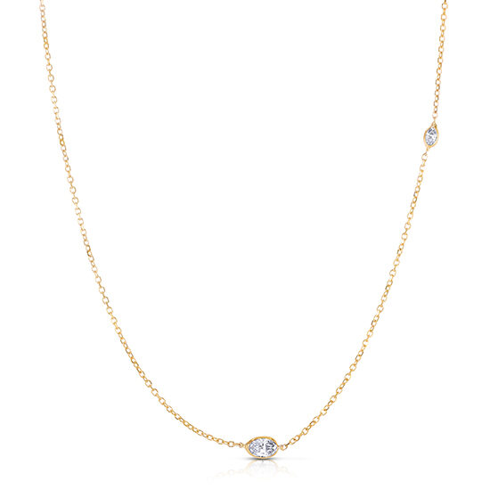 Oval Cut Diamond Two Stone Necklace 14K Yellow Gold | Love and Light Collection