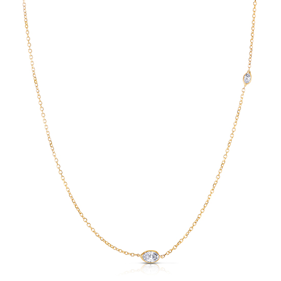 Oval Cut Diamond Two Stone Necklace 14K Yellow Gold   Love and Light Collection