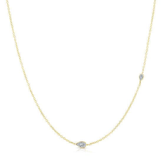 Pear Shape Diamond Two Stone Necklace 14K Yellow Gold | Love and Light Collection