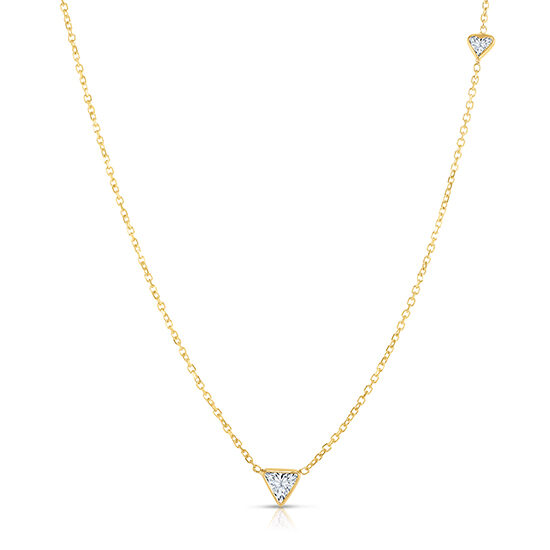 Trillion Cut Diamond Two Stone Necklace 14K Yellow Gold | Love and Light Collection