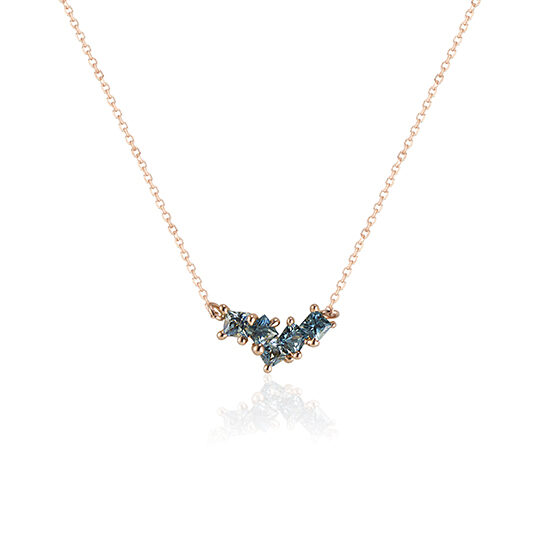 Madagascan Parti Sapphire Bonnie Necklace, cast not set, in Rose Gold