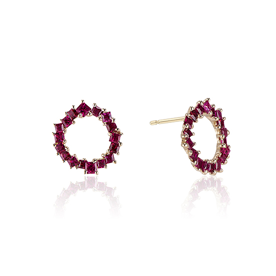 Ruby In The Round Earrings