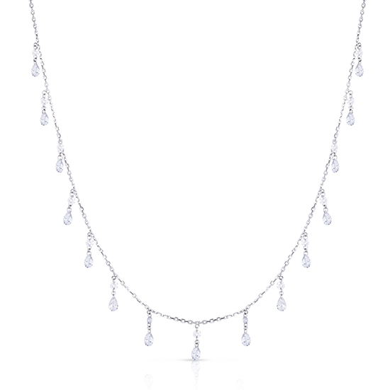 Pear and Round Shaped Diamond Threaded Necklace