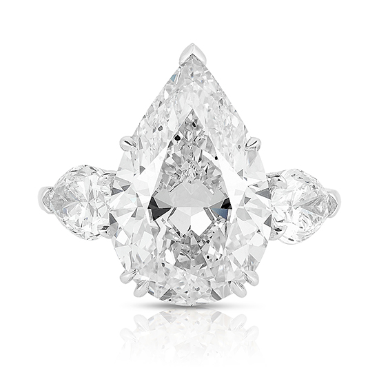 Three Stone Pear Cut Diamond Engagement Ring With Pear Cut side stones | Marisa Perry by Douglas Elliott