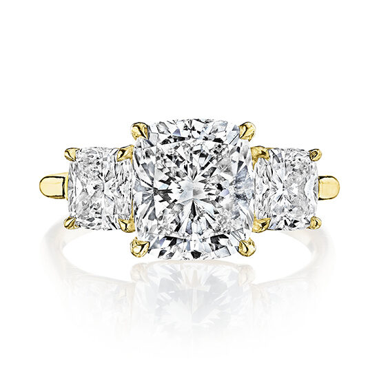 Three Stone Flush Fitting Cushion Cut Diamond Engagement Ring With Cushion side stones | Marisa Perry by Douglas Elliott