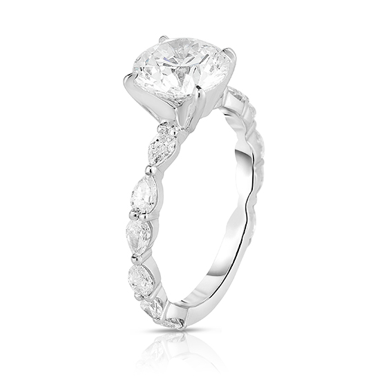 The Round Brilliant Robin Setting with Pear Shaped Diamonds   Marisa Perry by Douglas Elliott