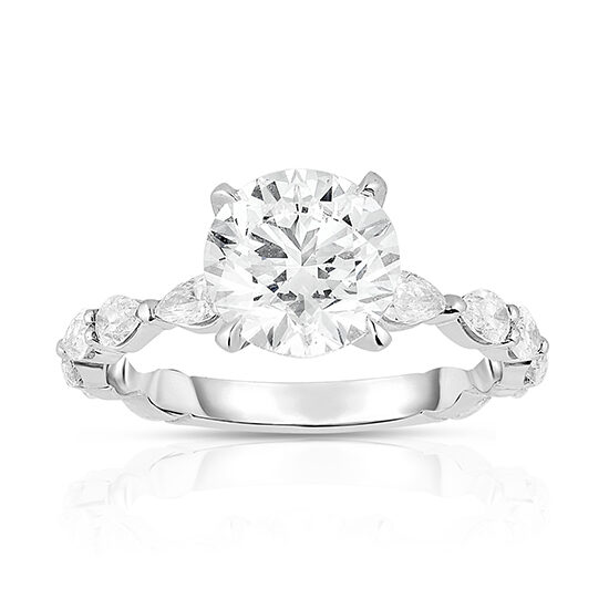 The Round Brilliant Robin Setting with Pear Shaped Diamonds | Marisa Perry by Douglas Elliott
