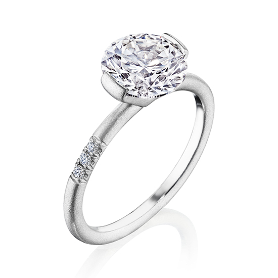 The Edge Solitaire Engagement Ring With a Round Brilliant Diamond   Marisa Perry by Douglas Elliott