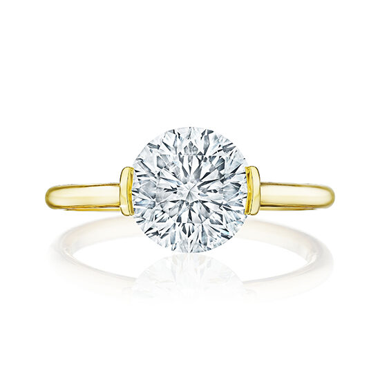 The Edge Solitaire Engagement Ring With a Round Brilliant Diamond 18k Yellow Gold | Marisa Perry by Douglas Elliott